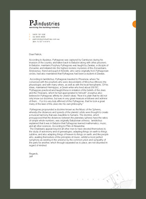 PJ Industries Letterhead